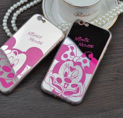 Capa de Celular espelho Minnie Mouse Rosa Borracha TPU Case de Telefone para iphone 5 5g 5S se