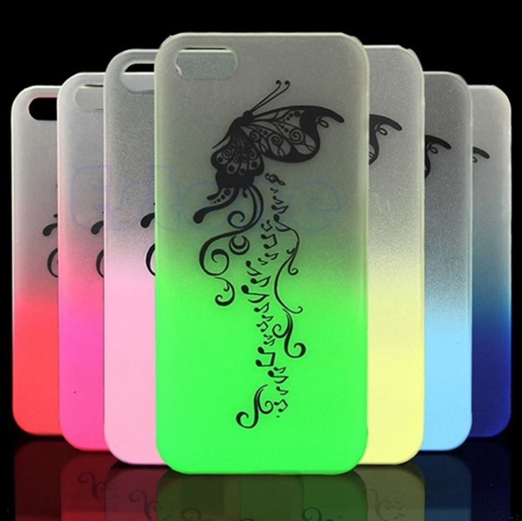 Capa fluorescente Rosa Borboleta Brilha/acende no escuro para i Phone 5 5S