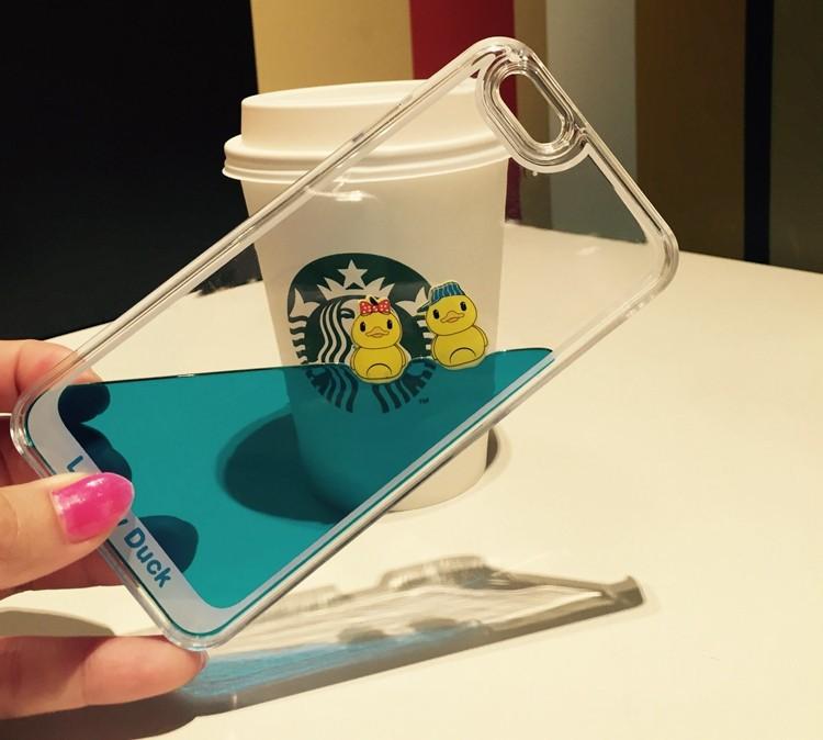 Capa Celular iPhone 6 7 Plus e Samsung S6 S7 Edge Plástico Transparente com Líquido Azul e Patos Boiando