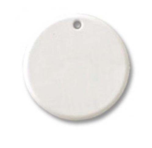 Chaveiro Branco Redondo Plástico Rígido Diâm. 3,5cm Personalizado Frente e Verso