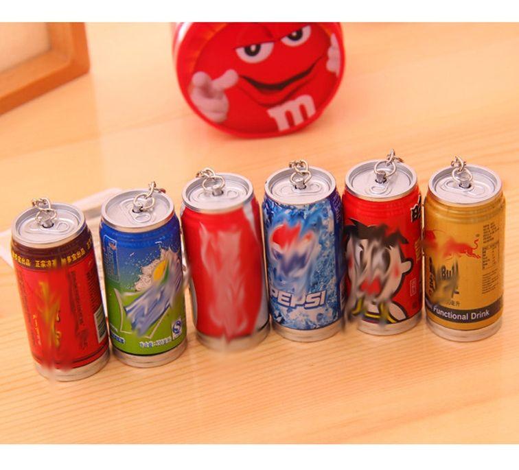 Chaveiro Caneta Esferográfica Criativo 3D Lata de Coca-Cola ou Pepsi Prático