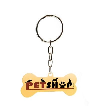Pingente ou Chaveiro de Metal Ossinho para Cachorro Personalizado 2 lados