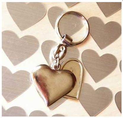 Chaveiro Metálico de Coração duplo pingente ambos Personalizados