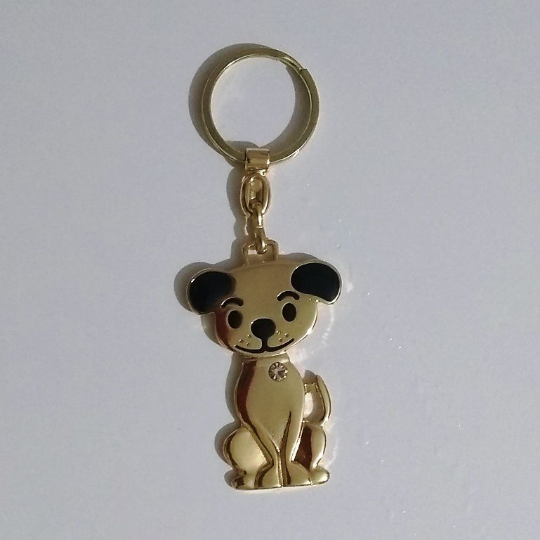 Chaveiro Metálico com Pedra Cachorro ou Gato Dourado ou prateado