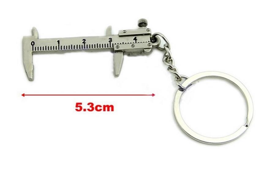 Chaveiro metálico imitação de paquímetro Vernier Móvel