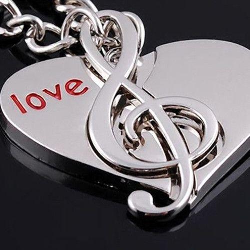 Chaveiro par nota de coração amante de música casais namorados