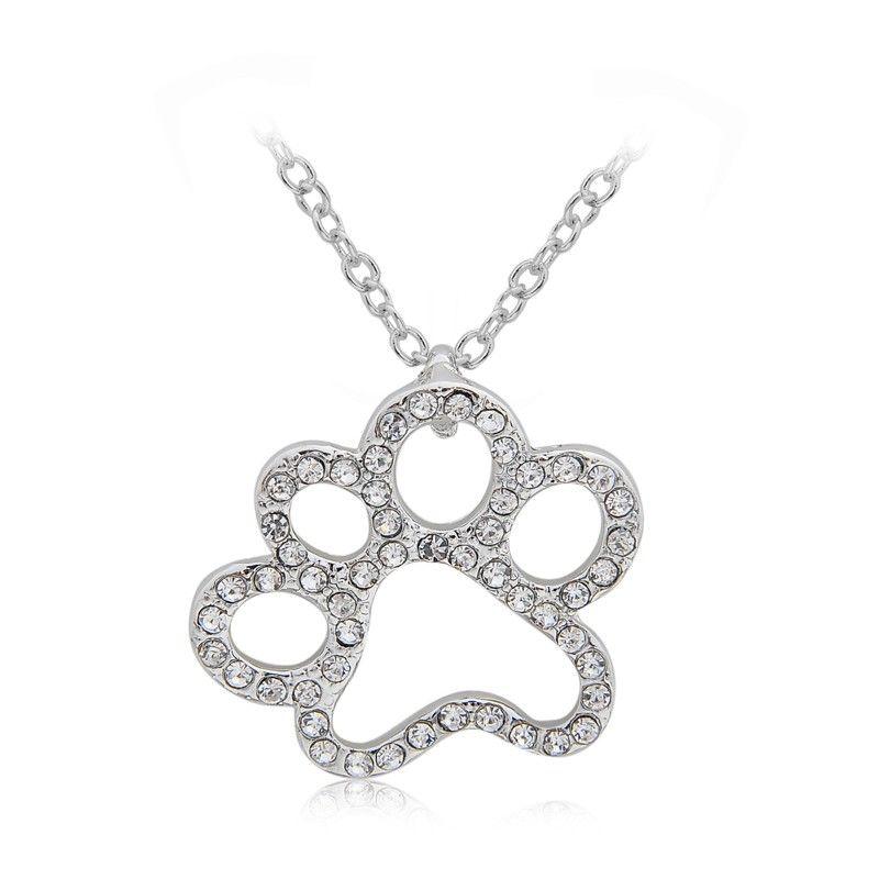 Colar com pingente de Pata do Gato Cachorro Cristal Adorável com Pedrinhas Strass