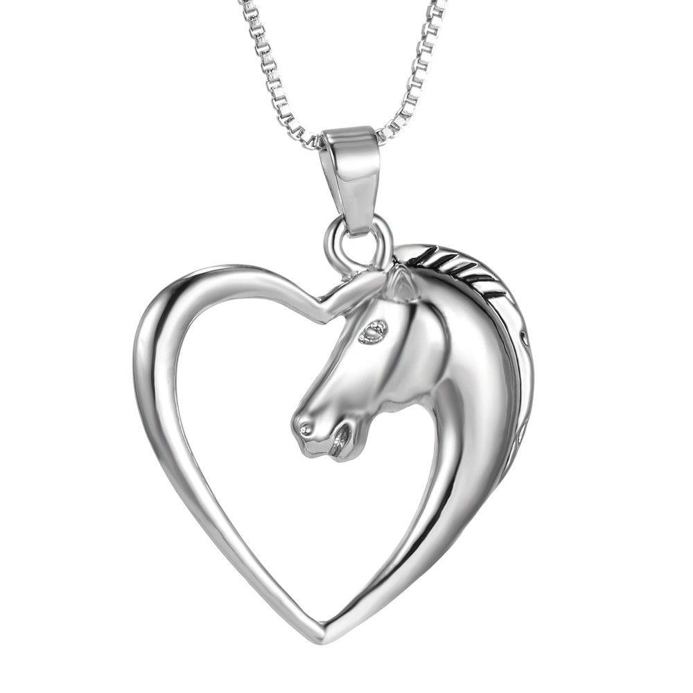 Colar Cordão com Pingente Cavalo Forma Coração Prateado