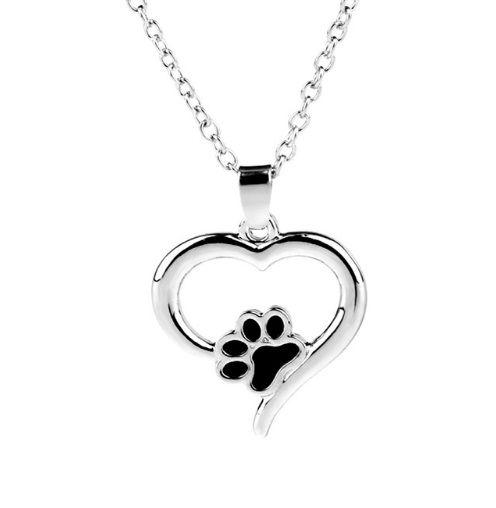 Colar Cordão com Pingente de Coração com Pata do Cachorro ou Gato