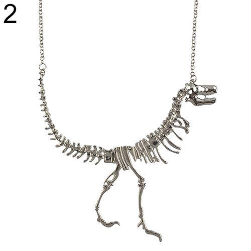 Colar Cordão Pingente Osso Esqueleto de Dinossauro Mulheres