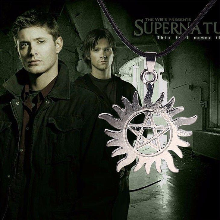Colar Cordão Supernatural Dean Pingente Pentagrama Sol e Estrela