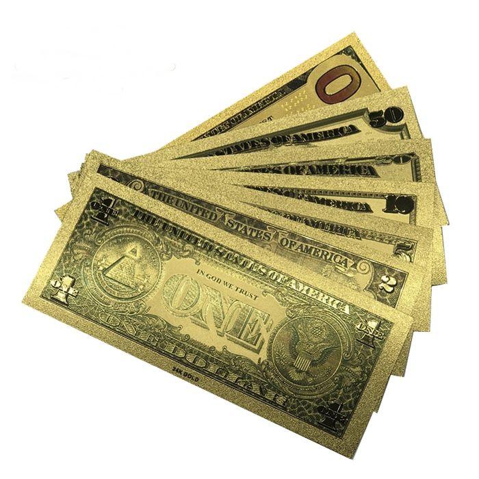 Coleção de Notas de Dolar 7 un Dinheiro Colorido Plástico com ouro