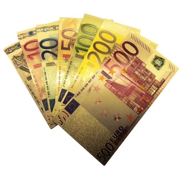 Coleção de Notas de Euro 7 un Dinheiro Colorido Plástico com ouro