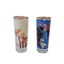 Copo de Vidro Vodka Comprido 50ml com Tarja Branca Borda Dourada Personalizado