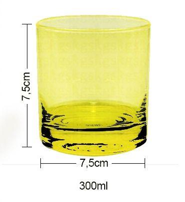 Copo de Vidro para Whisky Uísque 300ml Cor Rosa ou Amarelo Neon