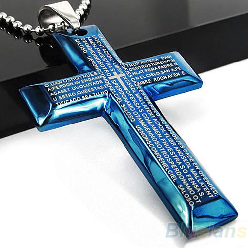Cordão colar com pingente em Cruz aço inoxidável com oração Pai Nosso