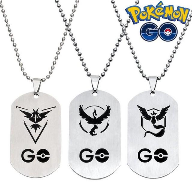Cordão Colar com Pingente Pokemon Go Times Equipes Místico Instinto Valor