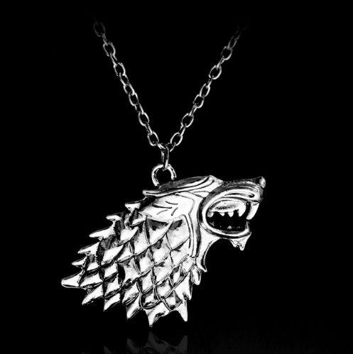 Cordão Colar de Pingente de Metal Lobo Stark The Game Of Thrones