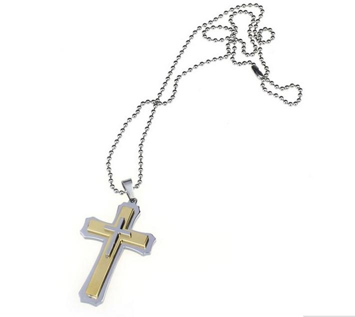 Cordão com pingente de cruz de aço inoxidável unissex cor ouro prata