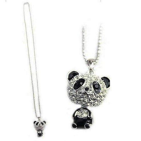 Cordão com Pingente Panda Koreano Imitação de diamante