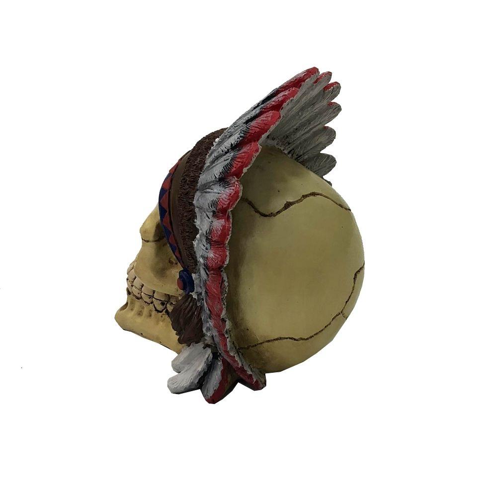 Crânio Caveira Índio Americano com Cocar Colorido Enfeite Decorativo rico em Detalhes em Resina dura