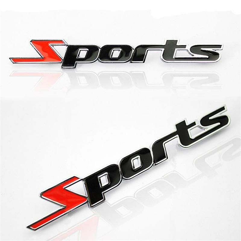 Decalque Adesivo 3D Emblema Sport Metal Prata Decoração do Carro
