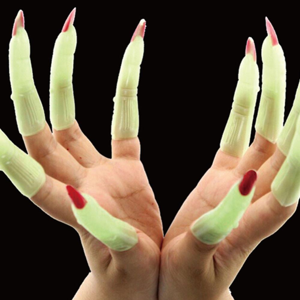 Dedos postiços com unhas Fluorescente de bruxa zumbi