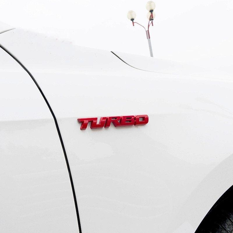 Emblema Etiqueta Adesivo 3D de Carro TURBO em METAL