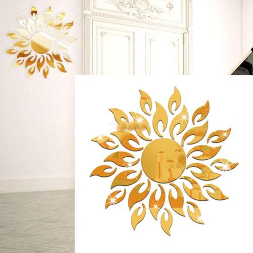 Espelho 3D Sol adesivos de Parede Decalque Quarto Cozinha Decoração Moderna