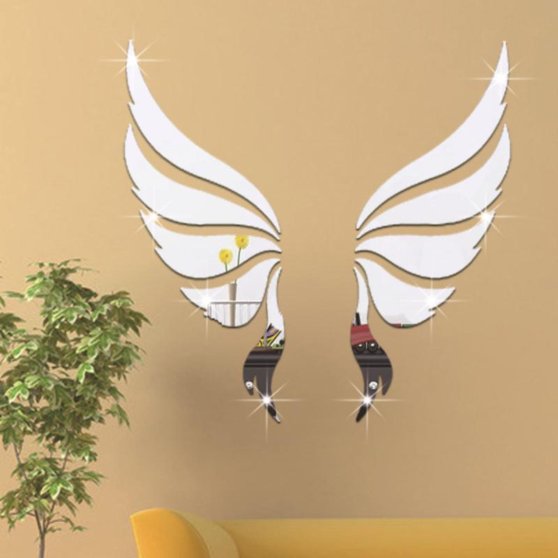 Espelho acrílico Adesivo De Parede 3D Asas de Anjo Decorativo