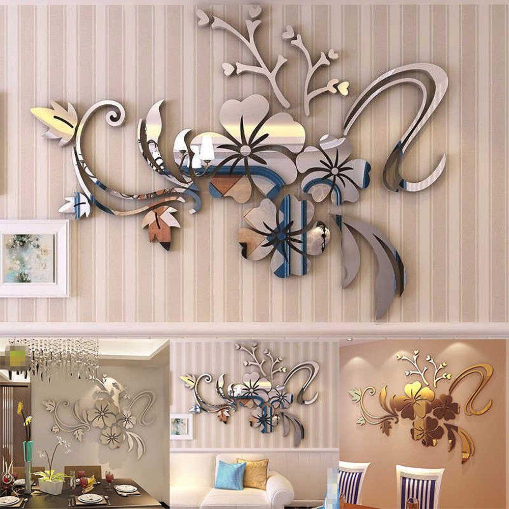 Espelho Acrílico adesivo parede 3D Flor DIY decoração Decalque