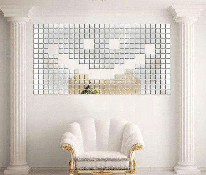 Espelho Acrílico Adesivos de Parede 3D 100 pcs de 2x2 cm Efeito Mosaico