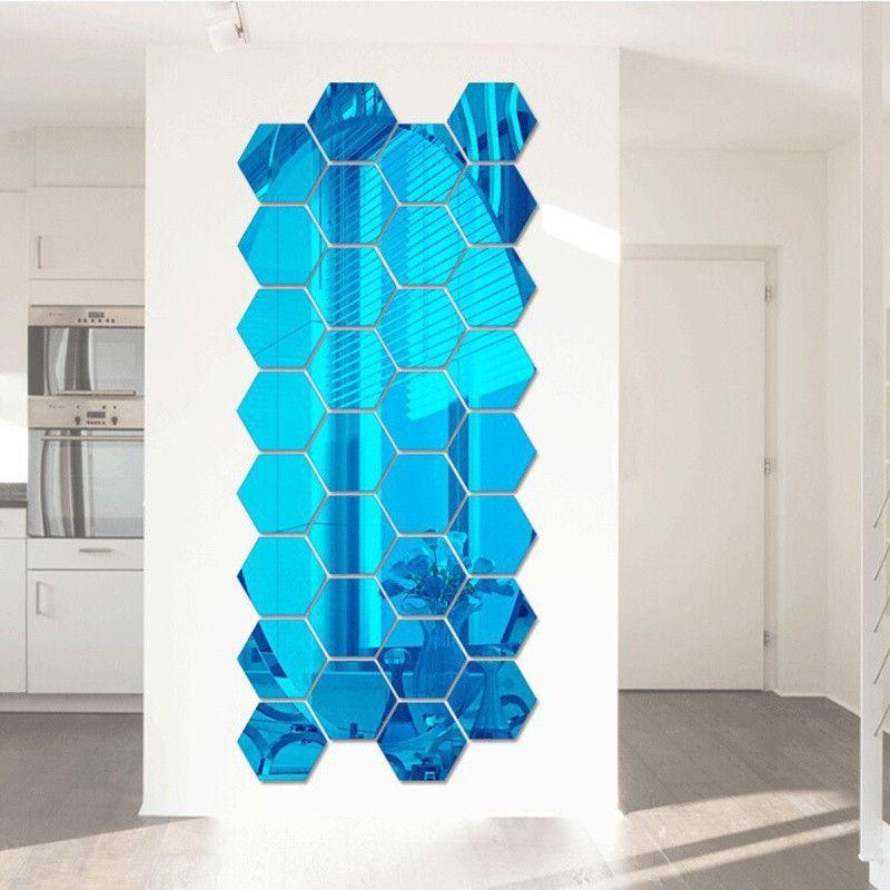 Espelho Adesivo de Parede Acrílico Hexagonal Azul 10pçs Decorativo