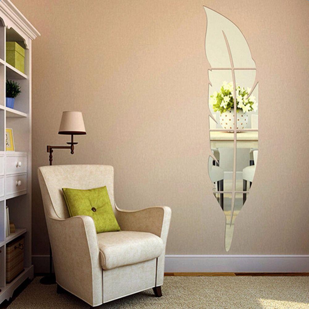 Espelho Adesivos de Parede Acrílico 3D Pena Folha Decorativo