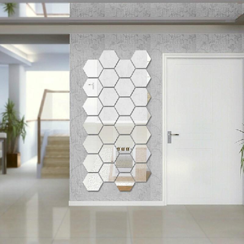 Espelho hexagonal acrílico Decoração da sala de estar quarto adesivo de parede
