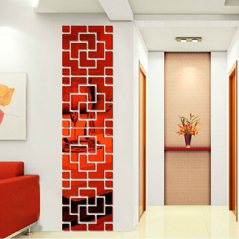 Espelho Parede Acrílico adesivo 3D Decorativo Vermelho Moderno