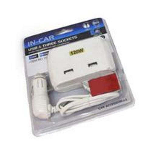 Extensão De Acendedor De Isqueiro 2 USB 3 Isqueiros 12V Celular Gps 120W para carro Acessórios para Carros