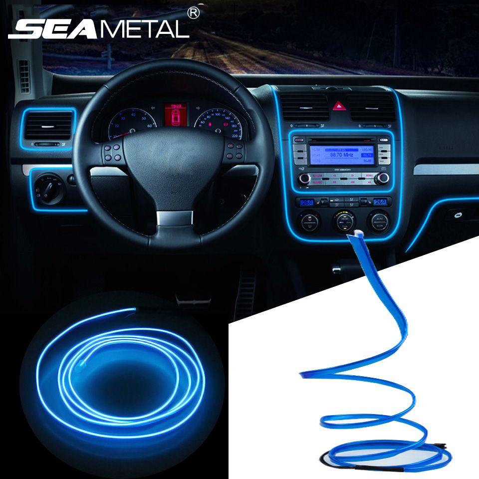Fita led Luz Neon 5m encaixe para decoração interior para carro car cold light line