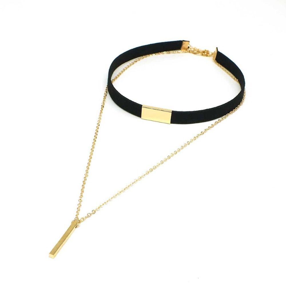 Gargantilha Colar Corrente Cor Preto com Ouro para Mulheres