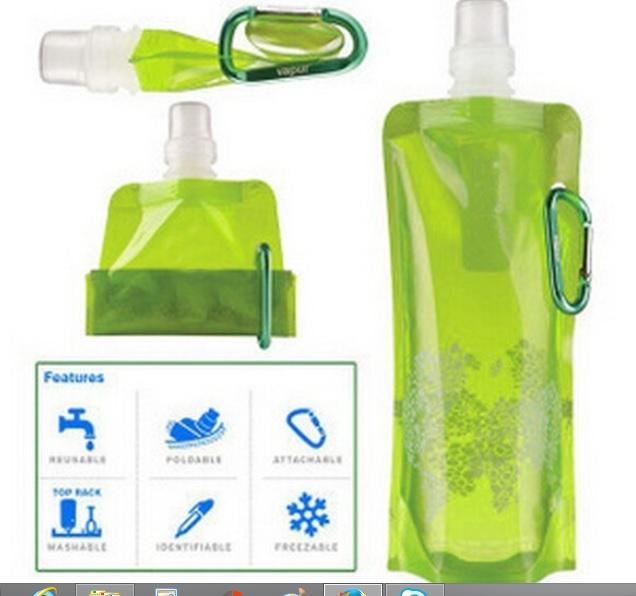 Garrafa de água plástica dobrável portátil 480ml