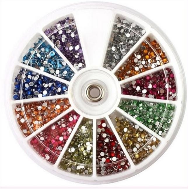 Strass Glitter colorido 3D para unha de 1,5 mm aprox. 2000 pçs