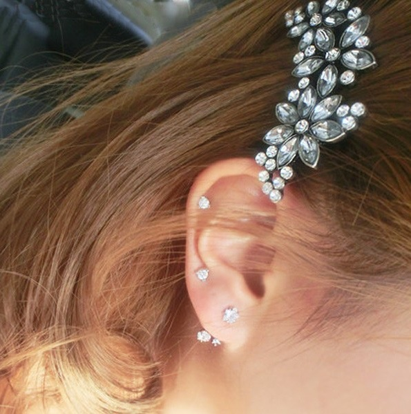 Grampos de cabelo flores de cristal nobre fashion para mulheres