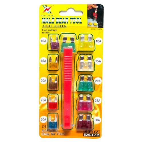 Kit Fusível Mini e Sacador de fusível 11 Peças 3A 5A 7.5A 10A 15A 20A 25A 30A 35A 40A para sistema de som do carro