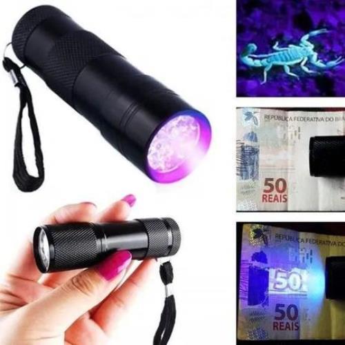 Lanterna Ultra Violeta Luz Negra UV Notas Escorpião LT-406 com 9 LEDs
