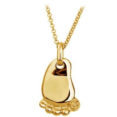Lindo Pingente com Colar Pé de Bebê foleado a ouro18k Fashion Presente Ideal