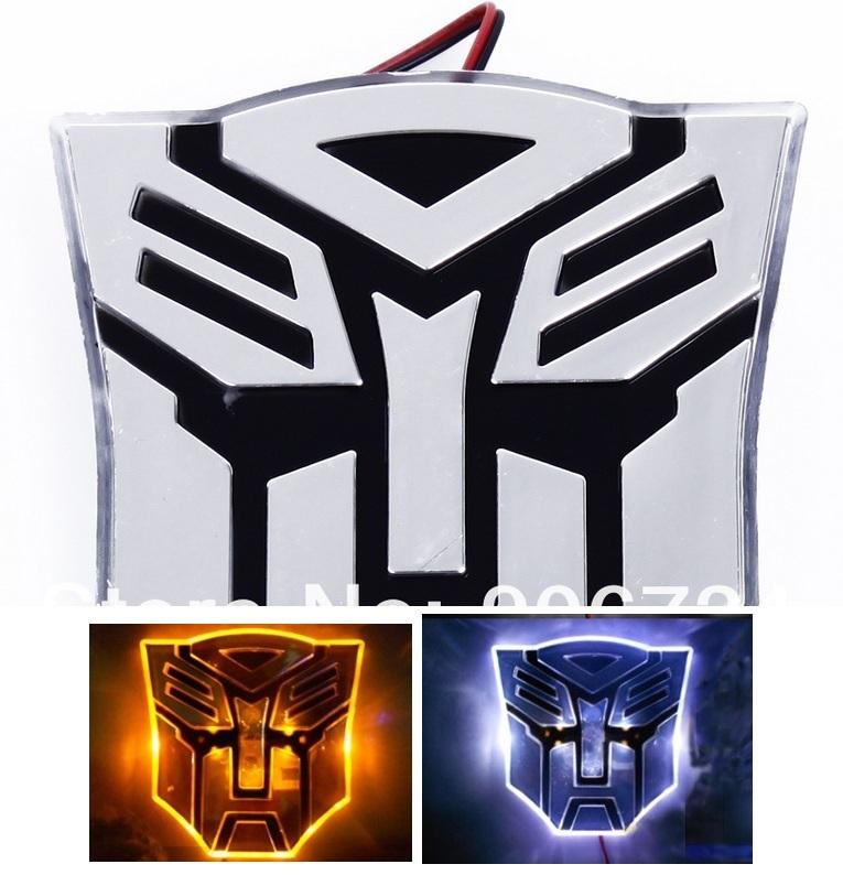 Logo Adesivo do Transformers 3D para carro com LED Azul e Branco