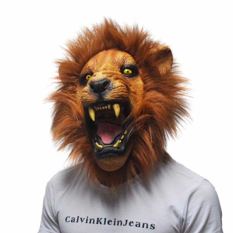 Máscara Adulto Cabeça de Leão Feroz Látex Adereços para Carnaval Halloween