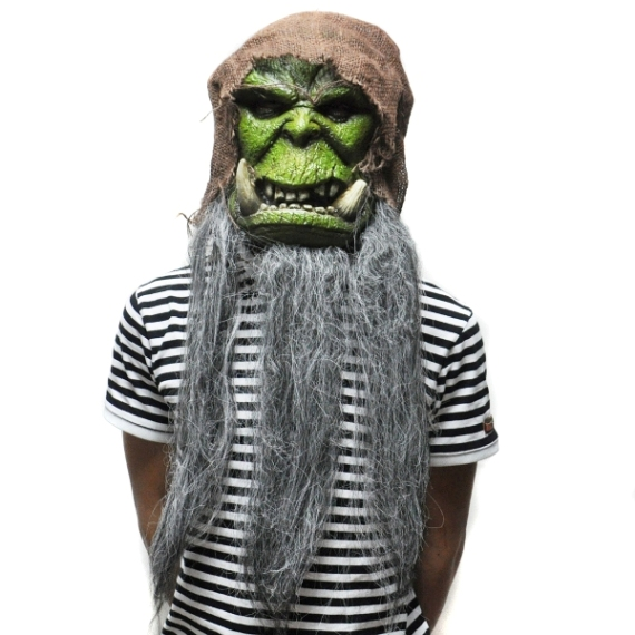 Máscara de Látex com barba Orcs Guldan Carnaval Cosplay Assustador para o Dia Das Bruxas
