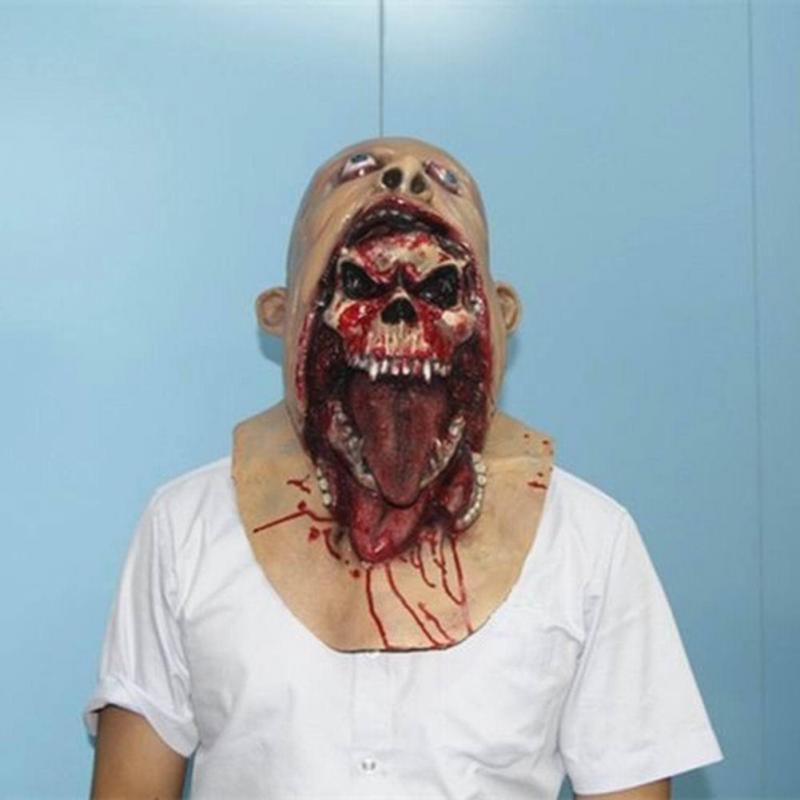 Máscara de Látex Zumbi Terror Caveira Sangrento Assustadora Halloween