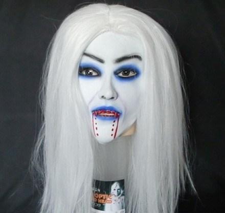 Máscara de Vampiro Escorrendo Sangue Terror de látex Rosto e cabelo carnaval Halloween